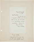 """Autographs:Authors, Thomas Hardy Autograph Letter Signed. Single page, 4.5"""" x 7"""", written entirely in Hardy's hand...."""
