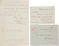 Autographs:Statesmen, Three Autographs by 19th Century Statesmen. Includes:. DanielWebster Free Franking Signature on Address Panel accompli...(Total: 3 Items)