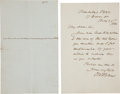 """Autographs:Authors, Two Autograph Letters Signed by Authors. Includes:. Oliver Wendell Holmes, Sr. Autograph Letter Signed, one page, 4.5"""" x... (Total: 2 Items)"""