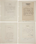 Autographs:Authors, Four Autographs by 20th Century Writers/Artists. Includes:. ...(Total: 4 Items)