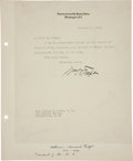"Autographs:U.S. Presidents, William Howard Taft Typed Letter Signed. One page, 8"" x 9.75"".Washington, December 5, 1927 on Supreme Court Letterhead...."