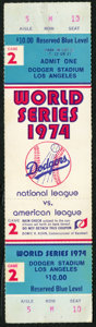 Baseball Collectibles:Tickets, 1974 World Series Full Ticket from Game 2 - Dodgers vs. A's....