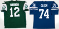 Football Collectibles:Uniforms, Joe Namath and Merlin Olsen Signed Jerseys Lot of 2....