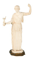 Decorative Arts, Continental:Other , A CONTINENTAL CARVED IVORY FIGURE . Probably Dieppe, France, early19th century. Unmarked. 8-1/2 inches high (21.6 cm). ...