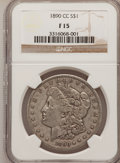 1890-CC $1 Fine 15 NGC. NGC Census: (29/4639). PCGS Population (56/9210). Mintage: 2,309,041. Numismedia Wsl. Price for...