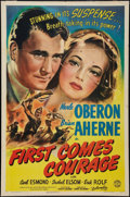 """Movie Posters:War, First Comes Courage (Columbia, 1943). One Sheet (27"""" X 41""""). StyleA. War.. ..."""