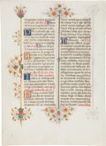 Books:Early Printing, [Illuminated Manuscript Leaf on Vellum]. Single leaf from the Llangattock Breviary. [Ferrara: ca. 1441-1448]....