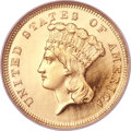 Proof Three Dollar Gold Pieces, 1863 $3 PR66 Ultra Cameo NGC. CAC....
