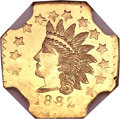 California Fractional Gold, 1882 50C Indian Octagonal 50 Cents, BG-966, High R.7, MS65 NGC....