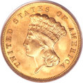 Three Dollar Gold Pieces, 1889 $3 MS66 PCGS Secure. CAC....