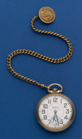 Timepieces:Pocket (post 1900), Waltham 23 Jewel Vanguard Pocket Watch With Chain & Fob. ...