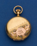Timepieces:Pocket (post 1900), Waltham 18k Multicolor O Size Hunters Case Pocket Watch. ...