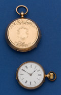 Timepieces:Pocket (pre 1900) , Two Swiss Unmarked Gold Watches, 40 mm Keywind Hunter, 32 mmCylinder Open Face. ...