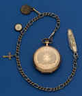 Timepieces:Pocket (post 1900), Elgin 12 Size Gold Filled Hunters Case With Chain. ...