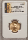 Modern Bullion Coins, 2009 $10 Tenth-Ounce From mint Sealed Box #1 Gold Eagle MS70 NGC.NGC Census: (0). PCGS Population (38). (#404434)...