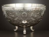 A FOOTED JAPANESE SILVER BOWL Maker unidentified, China, circa 1880 Marks: (maker's mark), (shop mark) 6-7/