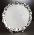 Silver Holloware, British:Holloware, A GEORGE III SILVER SALVER . Maker unidentified, London, England,circa 1776-1777. Marks: (lion passant), (leopard's head cr...