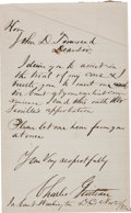 "Autographs:Celebrities, Charles Guiteau Autograph Letter Signed. One page, lined paper, 5""x 8"", Washington, D.C., November 22, 1881. After failing ..."