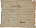 Autographs:Statesmen, Robert Morris Signed Bond of the North American Land Company madeout to Enoch Edwards for three shares. Partly printed docu...