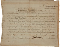 Robert Morris Signed Bond of the North American Land Company made out to Enoch Edwards for three shares. Partly print