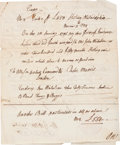 "Autographs:Statesmen, Robert Morris Document Signed. Two pages, 7.5"" x 9"", Philadelphia,April 25, 1796. Morris, a signer of the Declaration of In..."