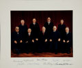 "Autographs:Statesmen, Burger Supreme Court Oversize Color Photograph Signed by All NineJustices. 18"" x 15"" with margins. Circa 1981-1986. ..."