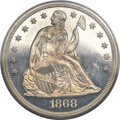 Proof Seated Dollars, 1868 $1 PR64 Deep Cameo PCGS. Breen-5480. ...