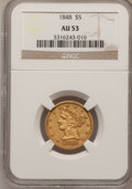 Liberty Half Eagles: , 1848 $5 AU53 NGC. NGC Census: (31/214). PCGS Population (15/68).Mintage: 260,775. Numismedia Wsl. Price for problem free N...