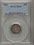 Seated Dimes: , 1862 10C MS64 PCGS. PCGS Population (44/29). NGC Census: (53/44).Mintage: 847,000. Numismedia Wsl. Price for problem free ...