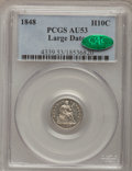 Seated Half Dimes: , 1848 H10C Large Date AU53 PCGS. CAC. PCGS Population (3/22). NGCCensus: (3/25). Mintage: 668,000. Numismedia Wsl. Price fo...