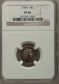 Proof Barber Dimes: , 1904 10C PR64 NGC. NGC Census: (57/78). PCGS Population (75/55).Mintage: 670. Numismedia Wsl. Price for problem free NGC/P...