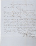 """Autographs:Statesmen, John Brown, Jr. Autographed Letter Signed. One page, 7.75"""" x 10"""",Boston, Mass., August 16, 1847...."""