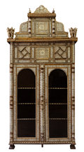 Furniture , A LEVANTINE MOTHER-OF-PEARL INLAID HARDWOOD VITRINE CABINET . Probably Syria, circa 1900. Unmarked. 122 x 57 x 22 inches (30...