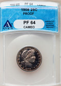 Proof Barber Quarters, 1908 25C PR64 Cameo ANACS. NGC Census: (40/81). PCGS Population (49/58). Mintage: 545. Numismedia Wsl. Price for problem fr...