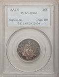 Seated Quarters: , 1888-S 25C MS63 PCGS. PCGS Population (19/30). NGC Census: (11/49).Mintage: 1,216,000. Numismedia Wsl. Price for problem f...