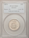Seated Quarters: , 1874 25C Arrows MS62 PCGS. PCGS Population (10/52). NGC Census:(8/34). Mintage: 471,200. Numismedia Wsl. Price for problem...