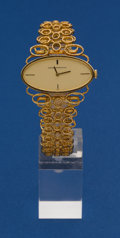 Timepieces:Wristwatch, Girard Perregaux Unusual 18k Gold Bracelet Wristwatch. ...