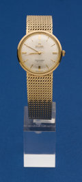 Timepieces:Wristwatch, Omega 14k Gold Seamaster DeVille With 14k Gold Band. ...