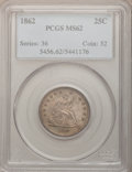 Seated Quarters: , 1862 25C MS62 PCGS. PCGS Population (20/91). NGC Census: (12/76).Mintage: 932,000. Numismedia Wsl. Price for problem free ...