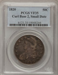 Bust Half Dollars, 1820 50C Curl Base 2, Small Date VF35 PCGS. PCGS Population(10/137). NGC Census: (9/1496). Mintage: 751,122. Numismedia Ws...