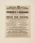 Entertainment Collectibles:Theatre, [Charles Dickens]. Theater Broadside for an 1837 Scottish StageAdaptation of Pickwick Papers. Edinburgh: Theatr...