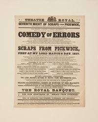 [Charles Dickens]. Theater Broadside for an 1837 Scottish Stage Adaptation of Pickwick Papers