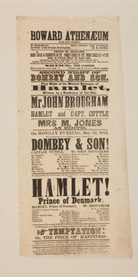 [Charles Dickens]. Theater Broadside for an 1852 Boston Stage Adaptation of Dombey & Son