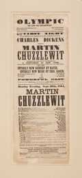 Entertainment Collectibles:Theatre, [Charles Dickens]. Theater Broadside for an 1864 New York Stage Adaptation of Martin Chuzzlewit. New York: Olymp...
