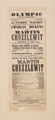 [Charles Dickens]. Theater Broadside for an 1864 New York Stage Adaptation of Martin Chuzzlewit