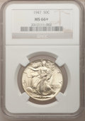 Walking Liberty Half Dollars, 1947 50C MS66+ NGC. NGC Census: (614/61). PCGS Population (901/23).Mintage: 4,094,000. Numismedia Wsl. Price for problem f...