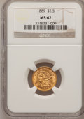 Liberty Quarter Eagles: , 1889 $2 1/2 MS62 NGC. NGC Census: (86/107). PCGS Population(73/100). Mintage: 17,648. Numismedia Wsl. Price for problem fr...