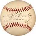 Autographs:Bats, 1941 Joe McCarthy Single Signed Baseball. ...