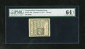 Colonial Notes:Connecticut, Connecticut October 11, 1777 7d SC PMG Choice Uncirculated 64EPQ. A single diagonal internal slash cancel is found on this e...