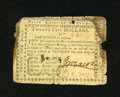 Colonial Notes:North Carolina, North Carolina May 10, 1780 $25 Very Good. This thin paper varietyhas some staining around the edges plus an edge notch. Th...